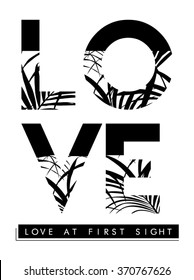 Palm leaves with love slogan