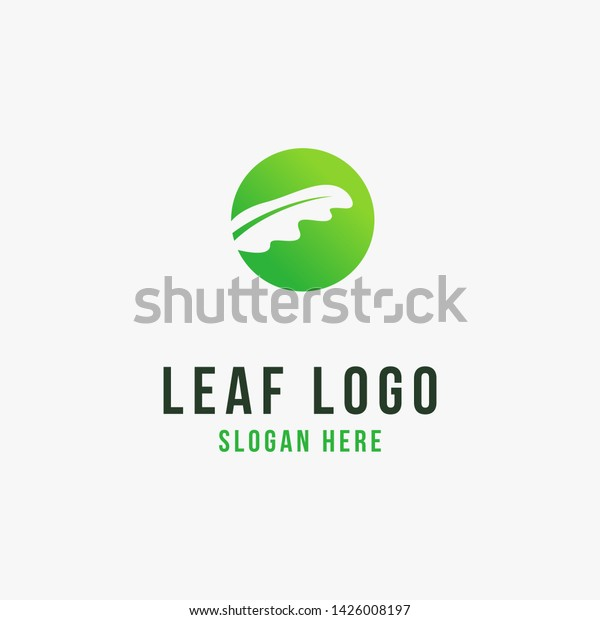 Palm Leaves Negative Space Logo Design Stock Vector Royalty Free