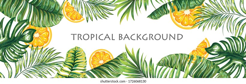 Palm leaves on a tropical background with sappels. Graphic design with amazing palms, tropical and fresh ripe fruits. Realistic palm leaves.