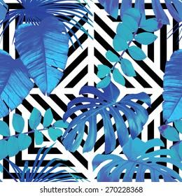palm leaves pattern, geometric background