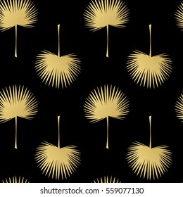 Palm leaves pattern. Seamless pattern with gold palm leaves. Vector background with leaf