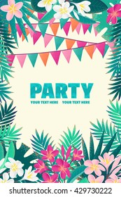 Palm leaves, pink and white frangipani (plumeria) flowers, flags vertical template. Tropical beach party. Retro vector illustration. Place for your text. Invitation, banner, card, poster, flyer