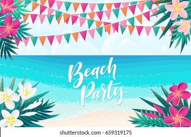 Palm leaves, pink, white frangipani flowers, flags, tropical beach, sky, clouds, seascape horizontal template. Retro vector illustration. Beach party lettering. Invitation, banner, poster, flyer