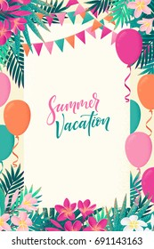 Palm leaves, pink, white frangipani flowers, flags, balloons vertical template. Tropical party. Retro vector illustration. Summer vacation lettering. Invitation, banner, card, poster, flyer