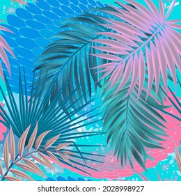 Palm leaves seamless pattern. Exotic tropical plants background. Repeat colorful leafy backdrop. Floral modern ornament. Beautiful design in blue pink colors. Vector ornamental illustration. Wallpaper
