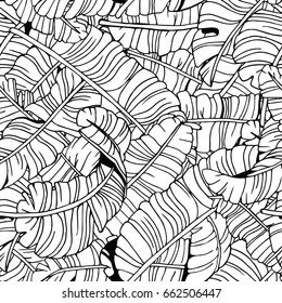 Palm Leaves Seamless Pattern. Exotic Tropical Background. Hand Drawn Black and White illustration.
