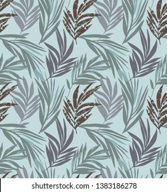 Palm leaves seamless pattern with flecked texture
