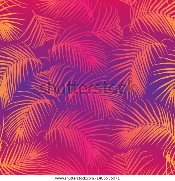 palm leaves seamless pattern neon 600w 1405536071