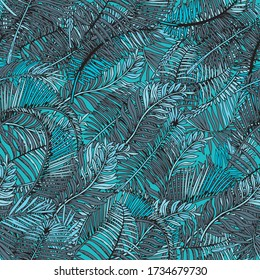 Palm Leaves Seamless Pattern. Summer Tropical Leaf Background with Exotic Palm Leaves. Hand Drawn illustration.