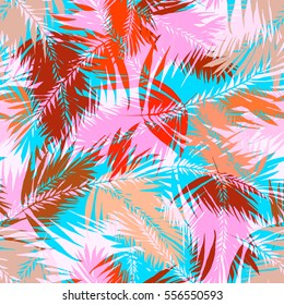 Palm leaves seamless vector coconut pattern. Pastel color overlay effect exotic plants and leaf coconut on a colorful palm leaves background.