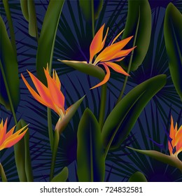 Palm leaves and Strelitzia Reginae flower known as crane flower, bird of paradise seamless pattern. South African flower and palm foliage background vector. Fabric, tropical leaves and blossom textile