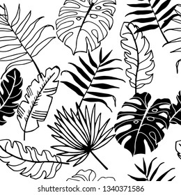 palm leaves tropical floral seamless pattern, hand drawn sketch