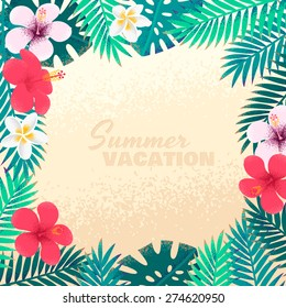Palm leaves and tropical flowers frame. Retro vector illustration with plumeria and hibiscus. Place for your text