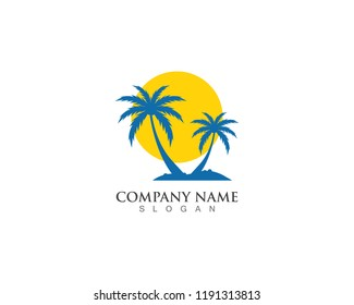 Palm logo tree template and vector illustration