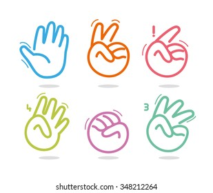 Palm logos. Gestures of hands logotype template. Amount vector icons set. Arm sign collection. Thin line shapes.