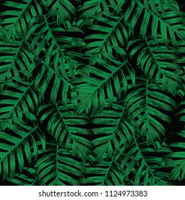 Palm Monstera Seamless Pattern. Black Green Tropical Summer Background. Beach Jungle Leaves for Swimwear Design. Lei Rapport. Retro Hawaiian Print. Tropic Textile Texture.  Botanic tiling.