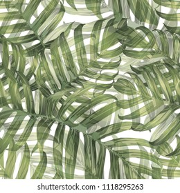 Palm Monstera Seamless Pattern. Green White Tropical Summer Background. Beach and Jungle Leaves for Swimwear Design.  Lei Rapport. Vintage Hawaiian Print. Exotic Texture. Botanic tiling.