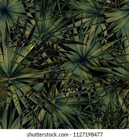 Palm Monstera Seamless Pattern. Green Black Tropical Summer Background. Beach Jungle Leaves for Swimwear Design. Lei Rapport. Vintage Hawaiian Print. Tropic Textile Texture.  Botanic tiling.