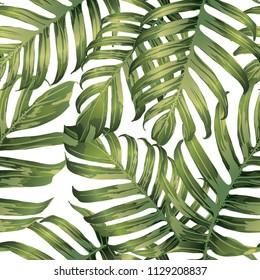 Palm Monstera Seamless Pattern. Green White Tropical Summer Background. Beach Jungle Leaves for Swimwear Design. Lei Rapport. Retro Hawaiian Print. Exotic Texture. Botanic tiling.
