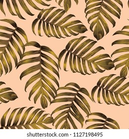 Palm Monstera Seamless Pattern. Yellow Tropical Summer Background. Beach Jungle Leaves for Swimwear Design. Lei Rapport. Retro Hawaiian Print. Exotic Texture. Botanic tile.