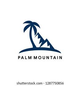 palm mountain logo icon vector