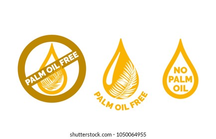 Palm oil free icon. Vector contains no oil palm logo label for healthy food or cosmetic product package. Gold oil drop with palm leaf design element