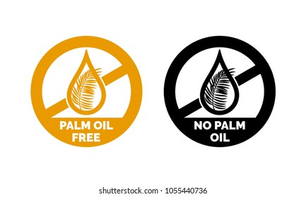 Palm oil free and no palm oil logo icon. Vector logo label for healthy food or cosmetic product package. Gold and black oil drop with palm leaf design element