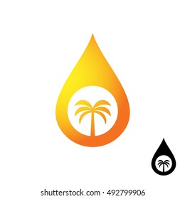 Palm oil icon. Oil orange drop with palm tree silhouette.