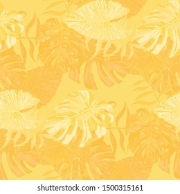 Palm Pattern. Yellow Seamless Pattern with Leaves of tropical Trees. Retro Texture for, Dress, Tablecloth, Paper. Tropical Palm Pattern.