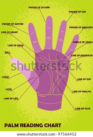 Palm reading chart showing explanations stock vector royalty free