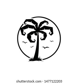 Palm silhouette logo vector with bird and grass on circle round shape. supernatural magic look.
