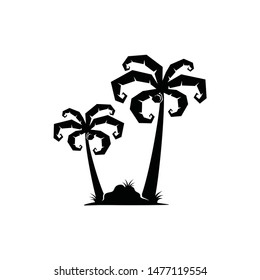 Palm silhouette logo vector with bushes scrub and grass . supernatural magic look.