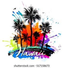 Palm silhouettes, surfer, birds, paint splashes - tropical background