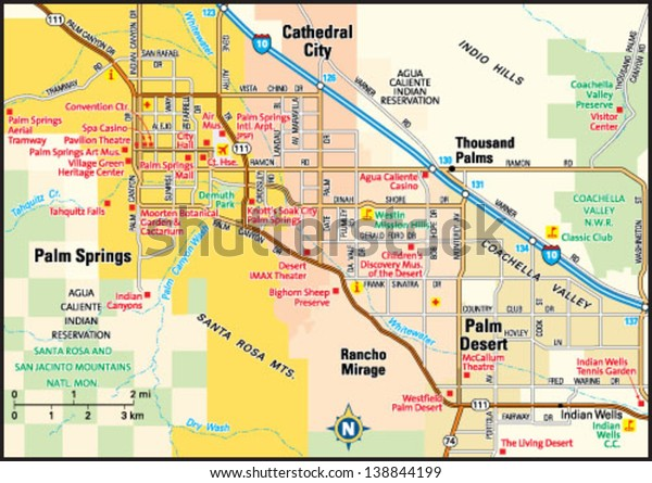 Map Of California Showing Palm Springs.Palm Springs California Area Map Stock Vector Royalty Free 138844199
