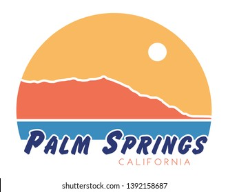 Palm Springs T-Shirt Design, Retro California Screen Printing Graphic, Mt. San Jacinto Vector Illustration, Coachella Valley Isolated Elements, Desert Shirt Design with Vintage Colors, 1970s CA, 70s