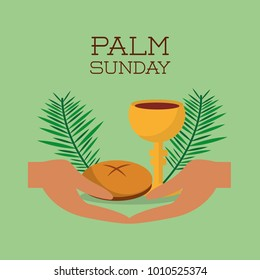 palm sunday hands bread and cup green background