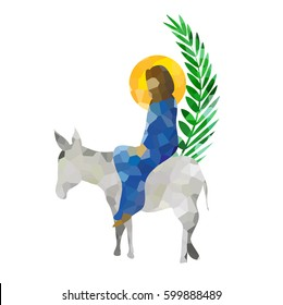 Palm Sunday - The Triumphal Entry of Jesus into Jerusalem on a donkey with palm leaves. Modern abstract artistic vector, digital illustration created without reference image.