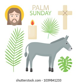 Palm Sunday vector flat icon set, Hosanna collection of flat design objects isolated on the dark background, vector illustration