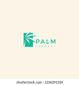 Palm Therapy with green color logo design inspiration