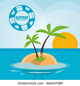 palm tree beach summer holiday vacation icon. Colorful and flat illustration. Vector graphic
