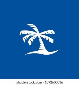 Palm Tree Beach Wave on Blue Background Icon Symbol Logo