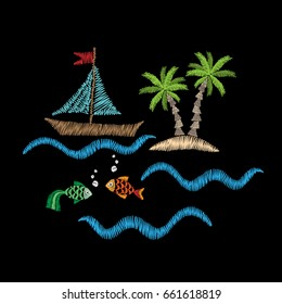 Palm tree and boat on wave with fish embroidery stitches imitation isolated on the black background. Embroidery for logo, label, emblem, sign, poster, t-shirt print. Vector embroidery illustration.