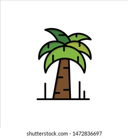 Palm, Tree, Brazil  Flat Color Icon. Vector icon banner Template
