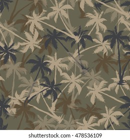Palm tree camo color, seamless pattern. Vectors