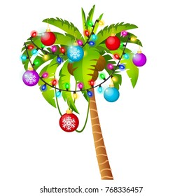 Palm tree decorated with Christmas toys, garland, colored baubles isolated on white background. Sample of poster, party holiday invitation, festive banner, card. Vector cartoon close-up illustration.