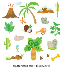 Palm tree, Dinosaur footprint, Volcano, Stones, Eggs, Bone, Coconut and Cactus.