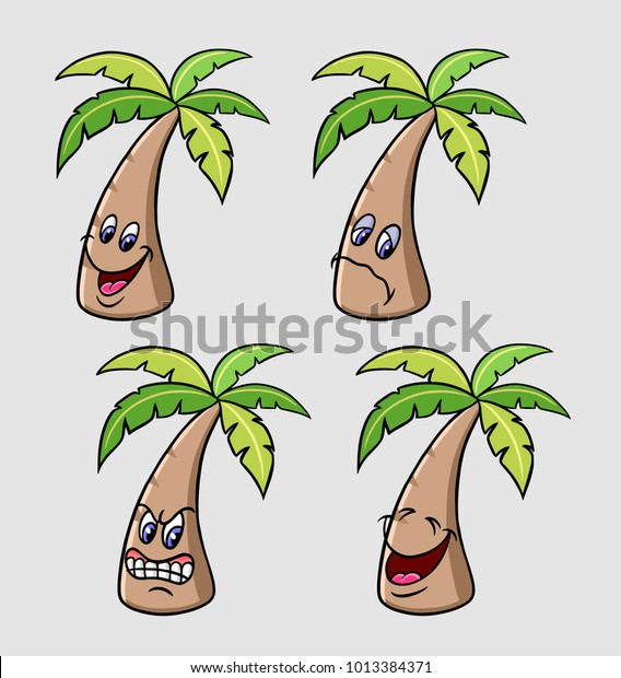 Palm Tree Emoji Expression Cartoon Character Stock Vector