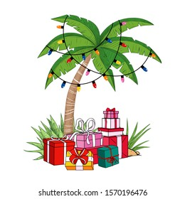 Palm tree with a garland of light bulbs and a variety of gifts. Tropical beach Christmas. Festive vector illustration.