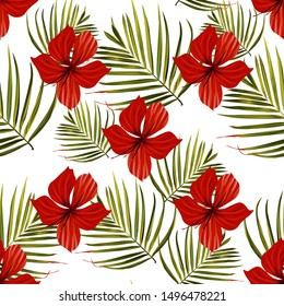 Palm tree. Hibiscus seamless pattern. Flower background