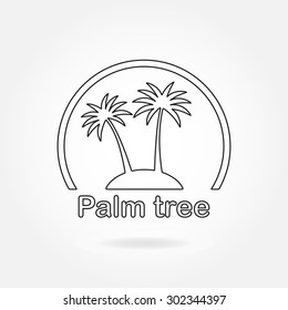 Palm tree icon or sign. Outline symbol of two black palm trees silhouette on the island. Vector illustration.